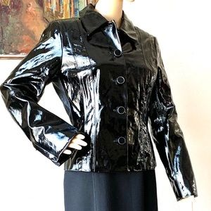 NWOT Worth Genuine Patent Leather Black Jacket